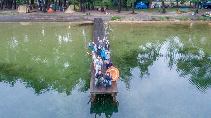 木崎湖での集合写真