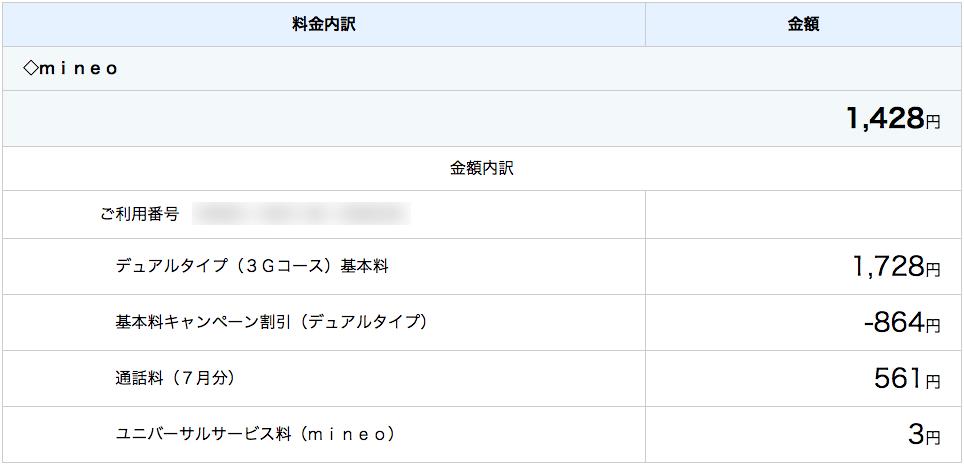mineoの請求内訳